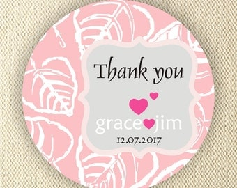 Personalized circle stickers - Set of 5 sheets - Thank You Wedding Stickers - Monogram - Bridal Shower Labels - Favor Tag - Address Labels