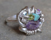 "RESERVED for Gerri: Size 10 /// Amethyst Multistone Sterling Ring - ""These Dreams..."""
