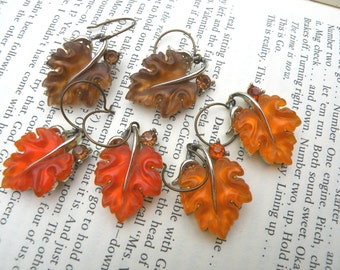 leaf earrings fall assemblage leaves thermoset upcycle jewelry autumn CHOICE