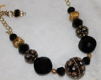 Black and Gold on a Chain Necklace
