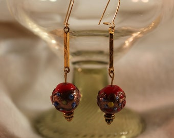 Red Glass Handmade Bead Earring