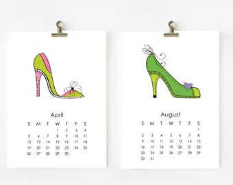 Shoes 2016 Calendar printable 5x7 Digital file