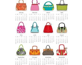 Purses 2016 Calendar printable 8 x 10 - digital file