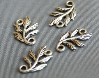 free shipping in UK - pack of 10  - Antique Silver Connector leaves, leaf