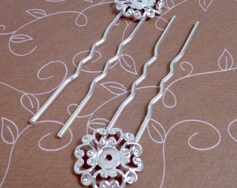 free shipping in UK - 10 pcs - Silver tone Hair Clip, Hair pin, hair fork with filigree
