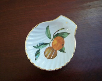 Vintage Serving Nut Dish by Royal Worcester Made in England Fruit Design Porcelain