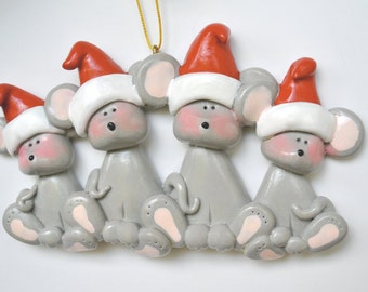 Personalized Mouse Family of 4 Christmas Ornament / family ornaments / family of four