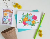 Blue & Pink Flowers, Set of FOUR Floral Folded Note Cards, Stationery, Hand Drawn, Illustration, Flowers, Flora, Notecards