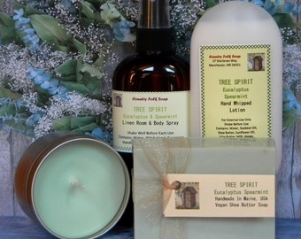TREE SPIRIT Eucalyptus Spearmint Soap Gift Set - Handmade Bath Gift - Soap, Lotion, Candle & Body Room Spray
