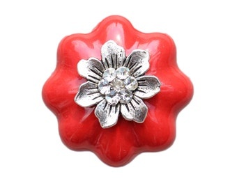 Ceramic Drawer Knobs Pumpkin in Red with Flower and Crystals (CK32-MT04S)