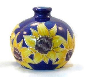 Ceramic Sunflower Vase - Sunflower Weedpot Vase - Cobalt Blue Sunflower Vase
