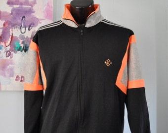 Vintage 80s 90s Tennis Sweatshirt Slazenger Jimmy Connors Jacket Black Neon Orange Sports Running Mens LARGE