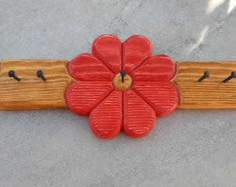Red Hand Carved Wood Key Holder   ---  Red Hand Carved Wood Jewelry Holder  --  Leash Holder