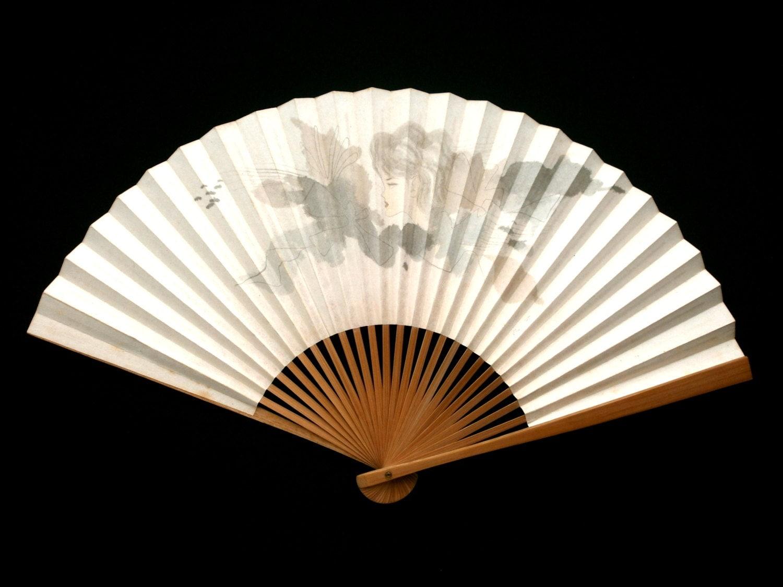 japanese hand held fan vintage paper fan sensu mai ogi. Black Bedroom Furniture Sets. Home Design Ideas