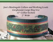 Jan's Martingales, Dark Green Walking Lead, Collar and Lead Combination, Greyhound, Large Dog, Dgrn075 Size