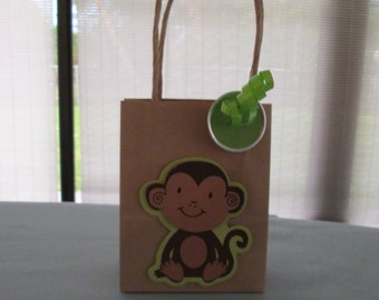 monkey favor bags, baby shower favor bags, birtday party favor bags, childrens party bags