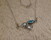 Cute delicate Girly Necklace  Stamped Silver Necklace blue touquise gemstone