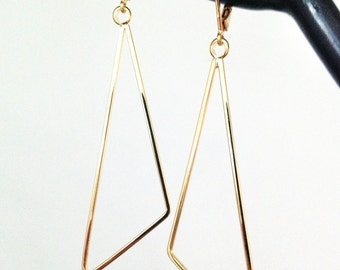 Gold Triangle Earrings. Geometric Earrings. Minimalist Earrings. Long Dangle Earrings. Women's Earrings. Gift for Wife / Mother