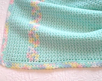 Baby Blanket in soft mint green baby yarn with pastel trim. Ready to Ship.