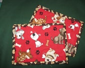 Whimsical puppy dog snack mats