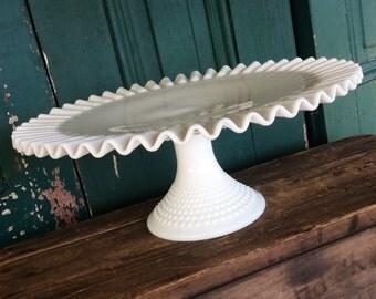 Vintage milk glass cake plate, dessert tray, Fenton hobnail, wedding decor, white ruffle edge