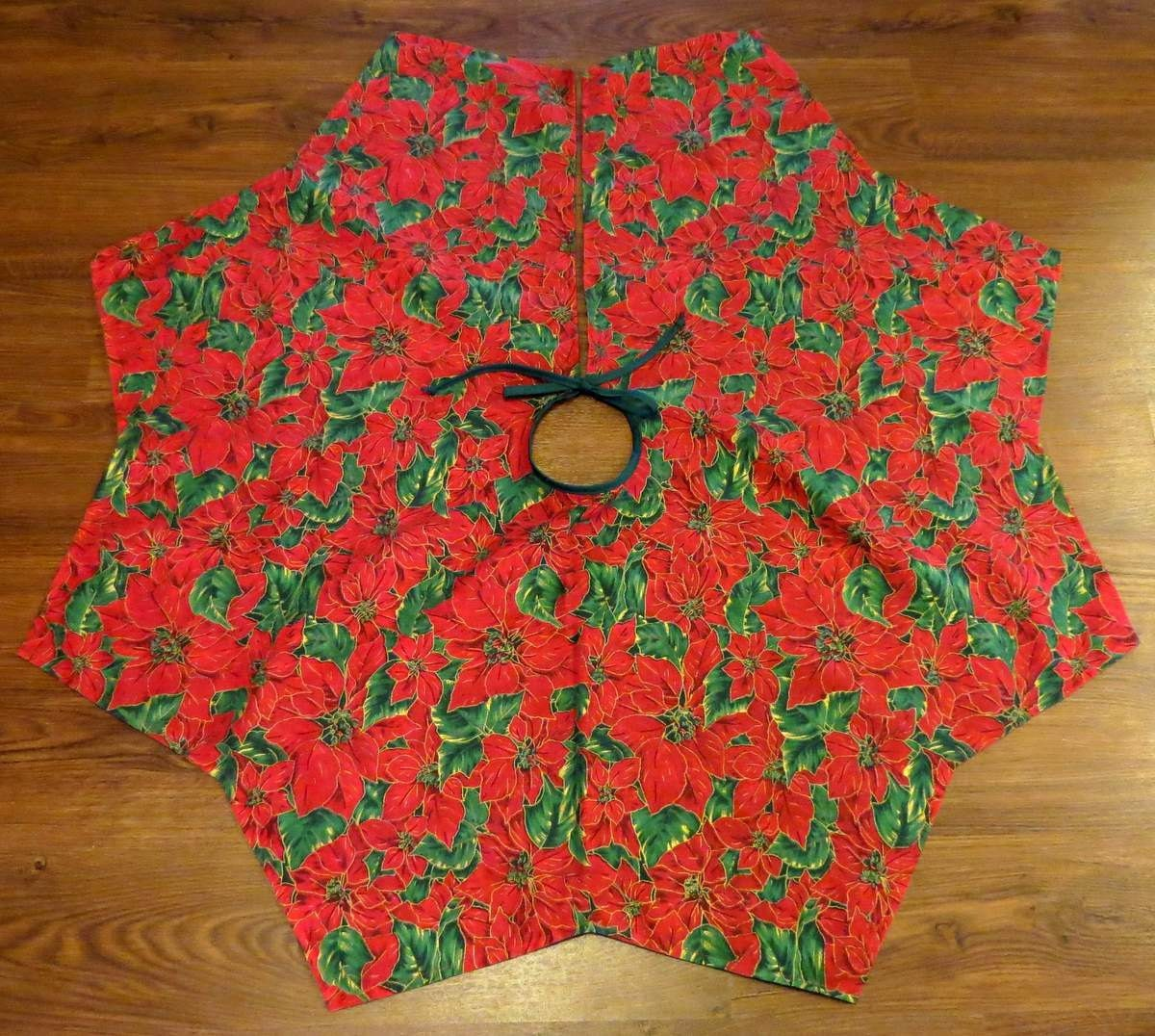 Lined christmas tree skirt large red poinsettias with by