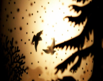 """Surreal Woodland Photo - Bird Art """"Two Shadows"""" Collage Photo - Fairy Tale Art - Dreamy Forest - Fine Art Photography - Animal Silhouette"""