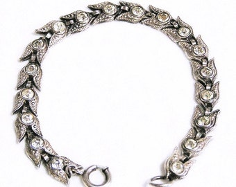 Beau Sterling Clear Paste Bracelet in Superb Condition