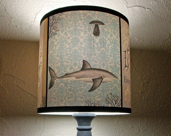 Underwater Creatures light teal lamp shade lampshade - lighting, boho, bohemian decor, damask, vintage lettering, octopus, shark, mermaid