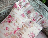 Shabby Chic pillow with pleats buttons roses and stripes Brocante style