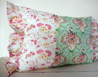 Shabby Chic pillow stripes and roses pink and green cottage style