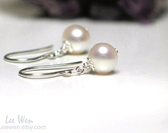 Pearl Earrings | 6mm White Freshwater Pearls | Sterling Silver | 14k Gold fill | Rose Gold Fill | Petite Pearl Dangles | Made to Order
