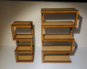 Modern furniture, assymetric bookcases in natural MDF wood, 1/12 miniature for dollhouses