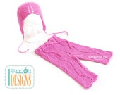 SALE - Hand Knit Lace Mohair Pants and Bonnet for 3-6 months READY to SHIP  Photo Prop
