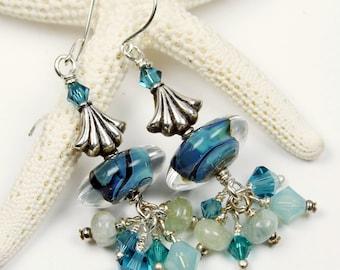 SRAJD Lampwork Earrings Sterling Silver - Teal Blue Aqua Turquoise  Beaded Jewelry 'Blues Band'