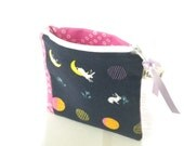 Moon Bunnies Coin Purse, Small Zipper Pouch, Gift Card/Credit Card Holder, Navy Change Purse
