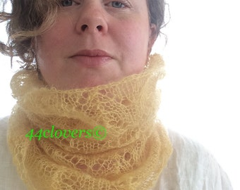 Cowl, Lace, Plant Dyed with Osage Orange, Hand Knitted with Kid Mohair and Silk, Horseshoe Lace
