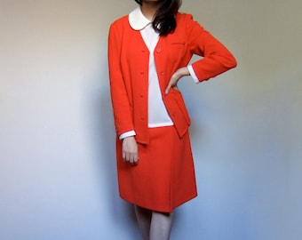 Retro 2 Piece Set Dress Outfit 70s Two Red White Dress Sleeveless Simple Button Up Jacket - Large L