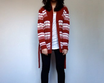 Long Knit Cardigan Oversized 70s Burnt Orange White Space Dye Fall Winter Striped Sweater Pockets - Small Medium Large S M L