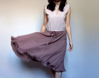 70s Office Dress Gray Taupe Ruffle Collar Simple Sleeveless Sundress Summer Dress - Medium Large M L