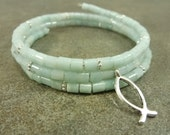 Amazonite Gemstone, Christian Fish and Memory Wire Coil Bracelet Silver Fish