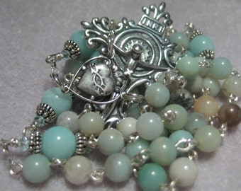 Fine Heirloom Quality Homemade CATHOLIC Five Decade Rosary in SOLID Sterling Silver and  Multi-Hued Amazonite Semiprecious Gemstones