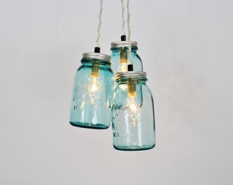 Mason Jar Chandelier Pendant Light, 3 Vintage Aqua Blue Jars, BootsNGus Lighting and Home Decor