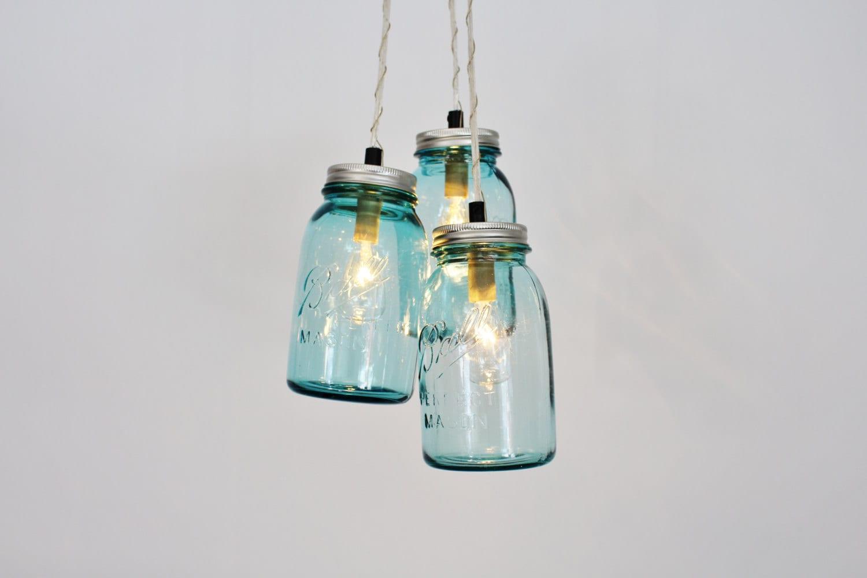 Mason Jar Chandelier Pendant Light 3 Vintage Aqua Blue Jars