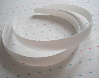 """Wide White Pair of Plastic Headbands, 3/4"""" Wide"""