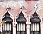 Venice Architecture Photography -  Trio of Venetian Gothic Windows, Italy Travel Photograph, Home Decor, Large Wall Art