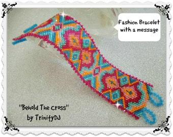 GEO-063-2016-110 - Behold The Cross - Peyote Stitch statement bracelet/cuff -  NOW 50% discount