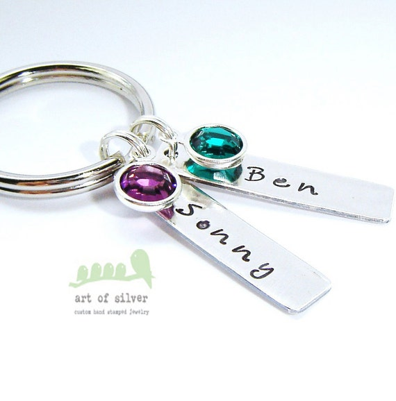 Personalized keyring -  Hand stamped Keychain - Name stamp charms - Mom or Dad