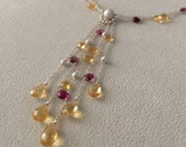 Semiprecious Gemstone Waterfall Pendant Necklace in Sterling Silver with Yellow Citrine and Pink Tourmaline