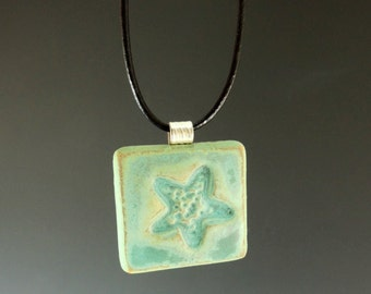 Aqua Starfish Pendant / Handmade Stoneware Clay / Beach Pendant  / Necklace / Jewelry / Jewelry Supplies